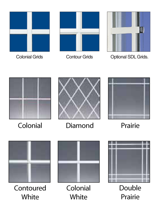 Clic Grids Are Available In Complementary White Or Beige With Colonial Diamond Prairie And Double Patterns Contoured